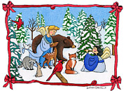 Wildlife Christian Art Prints - A Christmas Scene 2 Print by Sarah Batalka