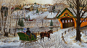 Winter Scene Paintings - A Christmas Sleigh Ride by Doug Kreuger