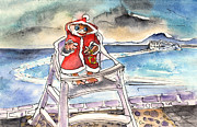Norway Drawings Prints - A Christmas Troll in Lanzarote Print by Miki De Goodaboom