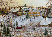 Snow Scene Landscape Framed Prints - A Christmas Village Framed Print by Doug Kreuger