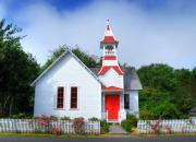 Picket Fences Photos - A Church In Oysterville by Mel Steinhauer