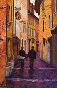 France Tapestries - Textiles Prints - A City Walk in Spring Print by Lenore Crawford