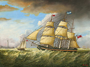 Eric Bellis Metal Prints - A Clipper Ship Sailing into Port Metal Print by Eric Bellis