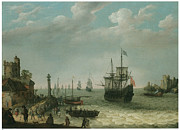 Sailing Vessels Framed Prints - A Coastal Landscape with Figures on the Shore  Framed Print by Abraham Willaerts