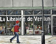 Quebec Paintings - A Cold Day in Verdun  Librairie de Verdun by Reb Frost
