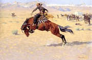 Bucking Bronco Framed Prints - A Cold Morning on The Range  Framed Print by Frederic Remington