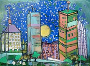 Boston Skyline Paintings - A Cold Night in Beantown by Jess Lawrence