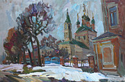 Orthodox  Painting Originals - A cold spring by Juliya Zhukova