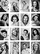 Lucille Ball Prints - A Collage Of Movie Starlets Portraits Print by Underwood Archives