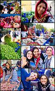 Turkish Photo Prints - A Collage of the Fresh Market in Kusadasi Turkey Print by David Smith
