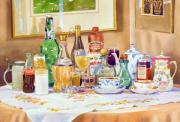 Table Cloth Painting Metal Prints - A Collection of Drinks Metal Print by Mary Helmreich