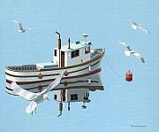 Trawler Paintings - A contemplation of seagulls by Gary Giacomelli