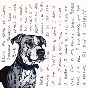 Boxer Mixed Media Originals - A CONVERSATION WITH A Boxer Mutt by Salvadore Delvisco