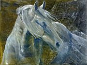 Light Horse Painting Originals - A Cool Morning Breeze by Jani Freimann