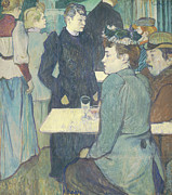 Cafe Scene Paintings - A Corner of the Moulin de la Galette by Henri de Toulouse Lautrec