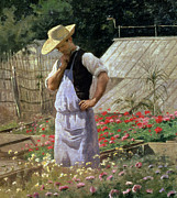 Rose Garden Paintings - A Corner of the Rose Garden at Bagatelle by Henri Adolphe Laissement