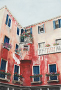 Red Geraniums Pastels Posters - A Corner of Venice Poster by Angela Bruskotter