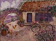 Vase Of Flowers Mixed Media Posters - A Cottage in Provence Poster by Elaine Elliott