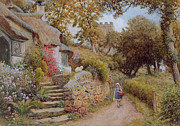 Charming Cottage Painting Posters - A Country Lane Poster by Arthur Claude Strachan