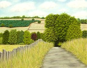 Farming Pastels Framed Prints - A country lane in the Cotswolds Framed Print by Rebecca Prough