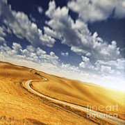 Dirt Roads Photos - A Country Road In Field Against Moody by Evgeny Kuklev