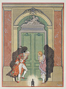 Candlelight Framed Prints - A Couple in Candlelight Framed Print by Georges Barbier