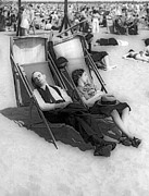 York Beach Metal Prints - A Couple Sleeps At The Beach Metal Print by Underwood Archives