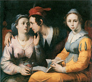 Courting Painting Prints - A Courting Couple and a Woman with a Songbook Print by Cornelis Corneliszoon Van Haarlem