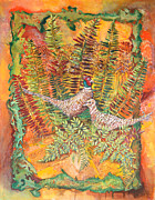 Botanicals Mixed Media Originals - A Covey of Pheasant by Edith Hardaway