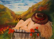 Cowgirls Paintings - A Cowgirl Bath by Annamarie Sidella-Felts