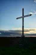 Lonely Framed Prints - A Cross in a Field Framed Print by Olivier Le Queinec