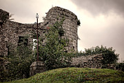 Overgrown Metal Prints - A Cross in the Ruins Metal Print by Olivier Le Queinec