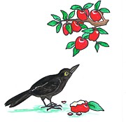 Cartoon Apples Posters - A Crow Poster by Joyce M Jacobs