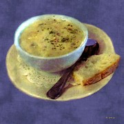 Clam Chowder Framed Prints - A Cup of Chowder A Crust of Bread Framed Print by RC deWinter