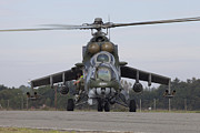 Hradec Prints - A Czech Air Force Mi-24 Hind Gunship Print by Timm Ziegenthaler