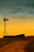 Old Barns Photo Prints - A Dakota Windmill Print by Jeff  Swan