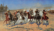 Frederic Remington Posters - A Dash for the Timbers Poster by Frederic Remington