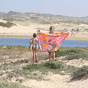 Beach Towel Prints - A Day at the Beach Print by Art Block Collections