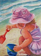 Shovel Painting Prints - A Day At The Beach Print by Mikki Carnevale