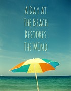 Umbrella Pyrography Posters - A Day At The Beach Restores The Mind  Poster by Maya Nagel