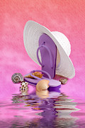 Straw Hat Posters - A Day at the Beach Still Life Poster by Tom Mc Nemar