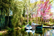 Boats Tapestries Textiles - A Day at the Lake by Bill Cannon