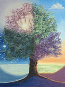 Light And Dark  Pastels Prints - A Day in the Tree of Life Print by Constance Widen