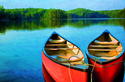 Canoe Metal Prints - A Day on the Lake Metal Print by Darren Fisher