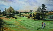 Playing Golf Prints - A DAYS GOLF Original painting sold Print by Andrew Read