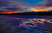 Dry Lake Photo Posters - A Death Valley Sunset in the Badwater Basin Poster by Kim Michaels