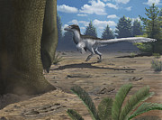 Deinonychus Prints - A Deinonychosaur Leaves Tracks Print by Emily Willoughby