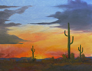 Sun Rays Paintings - A Desert Sunset by Joe Prater