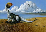 Dinosaur Illustration Posters - A Dilophosaurus Dinosaur Sitting In Mud Poster by H. Kyoht Luterman