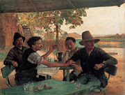 Straw Hat Digital Art - A Discussion In Politics by Emile Friant